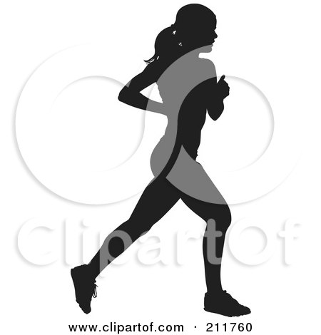 Royalty-Free (RF) Clipart Illustration of a Healthy Black Silhouetted Woman Running by Paulo Resende