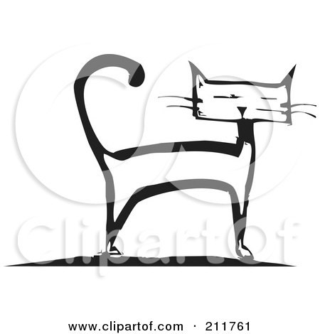 Royalty-Free (RF) Clipart Illustration of a Black And White Wood Cut Styled Cat Standing by xunantunich