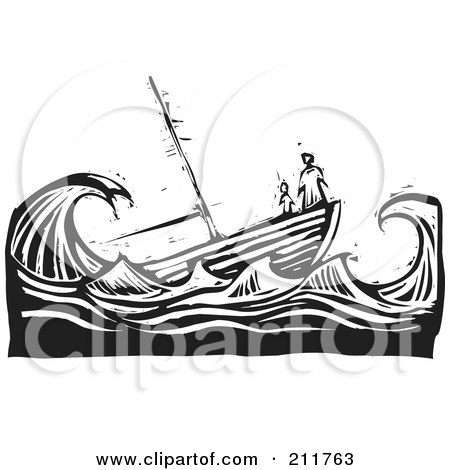 Royalty-Free (RF) Clipart Illustration of a Black And White Woodcut Scene Of People At The Tip Of A Sinking Ship by xunantunich
