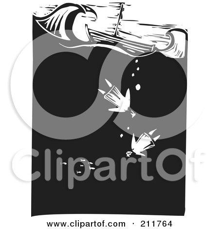 Royalty-Free (RF) Clipart Illustration of a Black And White Wood Carved Scene Of People Drowning Near A Ship At Sea by xunantunich