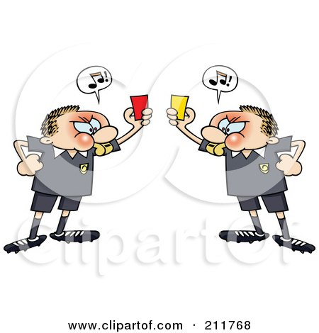 Royalty-Free (RF) Clipart Illustration of Angry Soccer Referee Toon Guys Holding Up Yellow And Red Penalty Cards At Each Other by gnurf