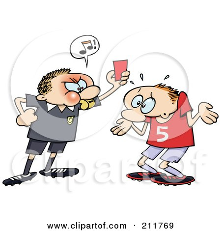 Royalty-Free (RF) Clipart Illustration of an Angry Referee Toon Guy Holding Up A Red Penalty Card At A Shrugging Soccer Player by gnurf
