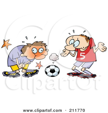 Royalty-Free (RF) Clipart Illustration of a Toon Guy Grabbing Himself After Being Hit In A Sensitive Spot With A Soccer Ball by gnurf