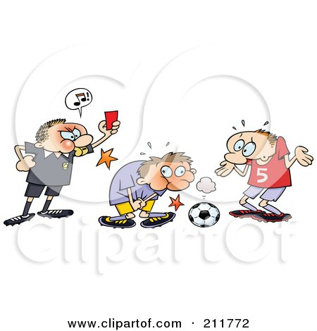 Royalty-Free (RF) Clipart Illustration of a Mad Ref Holding Up A Card While A Toon Guy Grabs Himself After Being Hit In A Sensitive Spot With A Soccer Ball by gnurf