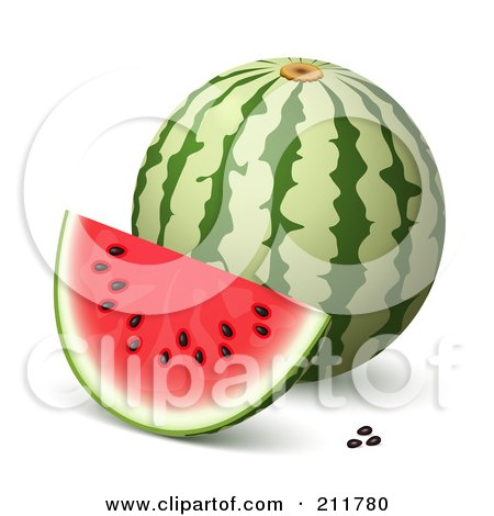 Royalty-Free (RF) Clipart Illustration of a 3d Watermelon, Slice And Seeds by Oligo