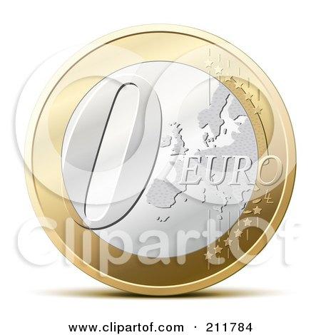 Royalty-Free (RF) Clipart Illustration of a 3d Zero Euro Coin by Oligo
