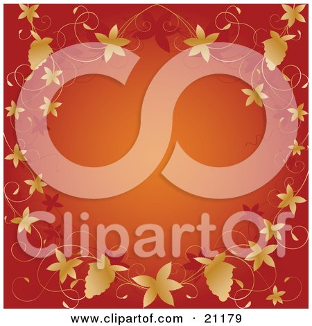 Clipart Illustration of an Orange Background Bordered By Autumn Grapevines And Grapes by elaineitalia