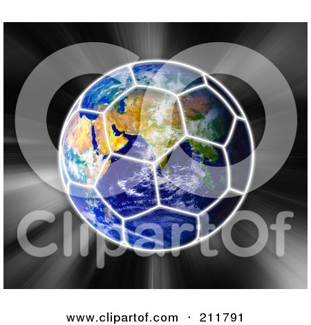 Royalty-Free (RF) Clipart Illustration of a Globe With A Soccer Ball Pattern Over It On A Zooming Background by MacX