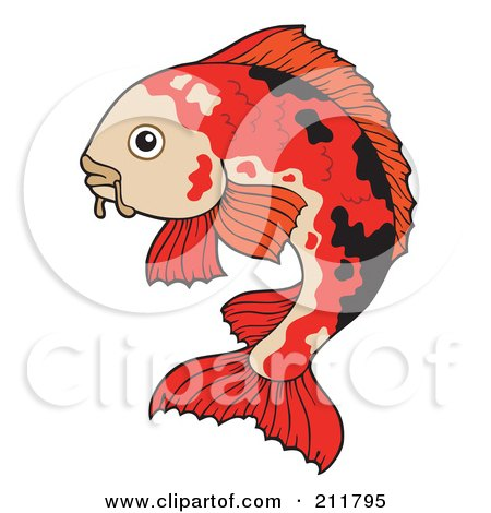 Royalty-Free (RF) Clipart Illustration of a Black And Red Koi Fish by visekart