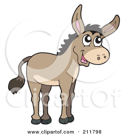 Royalty-Free (RF) Clipart Illustration of a Cute Donkey by visekart