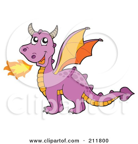 Royalty-Free (RF) Clipart Illustration of a Purple Fire Breathing Dragon With Orange Wings by visekart