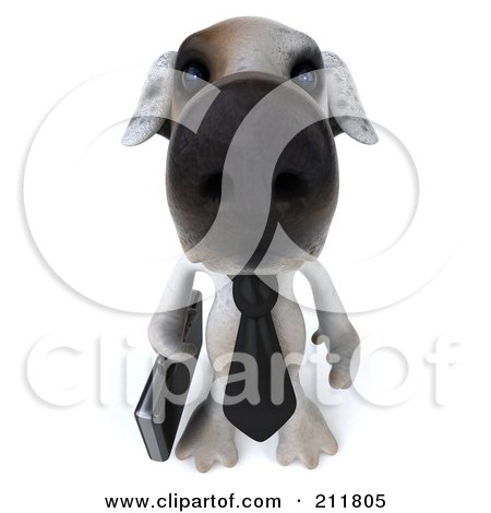 Royalty-Free (RF) Clipart Illustration of a 3d Jack Russell Terrier Pooch Businessman Looking Up by Julos