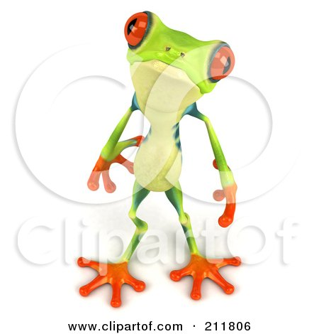 Royalty-Free (RF) Clipart Illustration of a 3d Argie Frog Looking Up by Julos