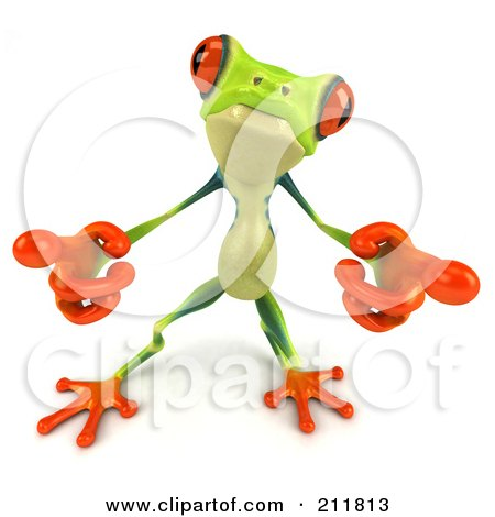 Royalty-Free (RF) Clipart Illustration of a 3d Argie Frog Pointing Both Hands Out by Julos