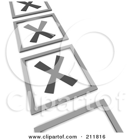 Royalty-Free (RF) Clipart Illustration of a 3d Check List With X Marks In The Squares by Jiri Moucka