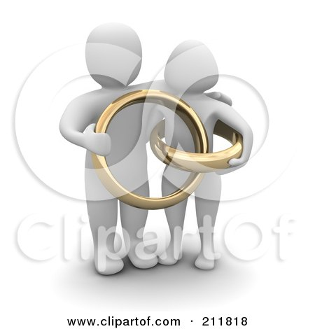 3d Blanco Couple With Giant Golden Wedding Rings Posters, Art Prints