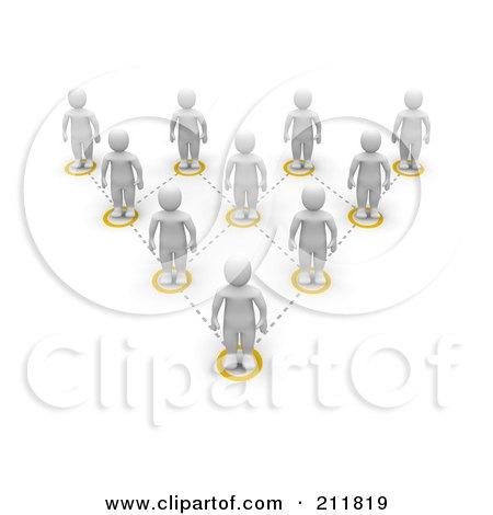 Royalty-Free (RF) Clipart Illustration of a 3d Network Of Blanco Men by Jiri Moucka