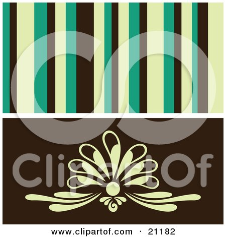 Clipart Illustration of a Retro Background Of Yellow, Green And Black Stipes Over A Floral Design by elaineitalia