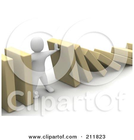 Royalty-Free (RF) Clipart Illustration of a 3d Blanco Character Holding Up Falling Blocks by Jiri Moucka