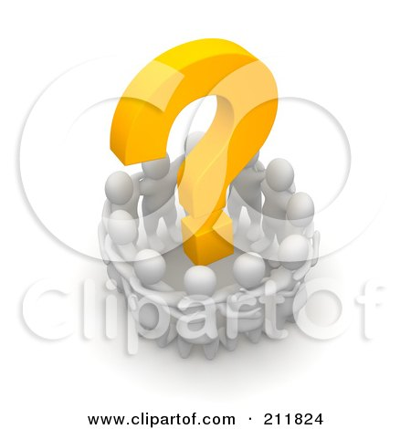 Royalty-Free (RF) Clipart Illustration of a 3d Circle Of Blanco People Huddled Around A Question Mark by Jiri Moucka
