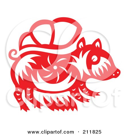 Royalty-Free (RF) Clipart Illustration of a Red And White Papercut Styled Boar by Cherie Reve