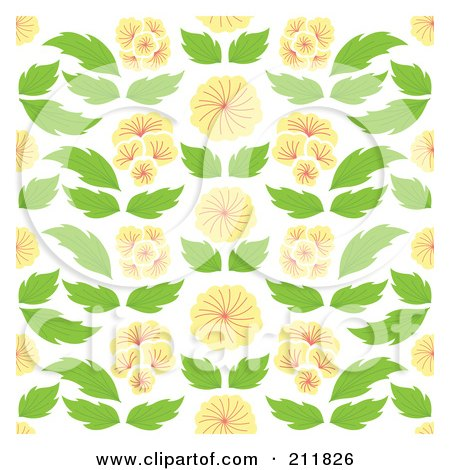 Royalty-Free (RF) Clipart Illustration of a Background Of Oriental Flowers And Leaves On White by Cherie Reve