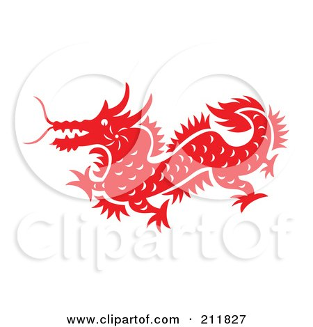 Royalty-Free (RF) Clipart Illustration of a Red And White Papercut Styled Dragon by Cherie Reve