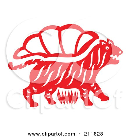 Royalty-Free (RF) Clipart Illustration of a Red And White Papercut Styled Tiger by Cherie Reve