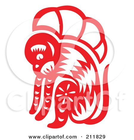 Royalty-Free (RF) Clipart Illustration of a Red And White Papercut Styled Monkey by Cherie Reve