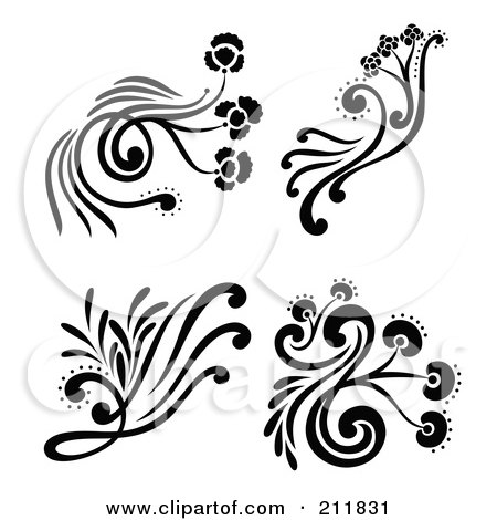 Royalty-Free (RF) Clipart Illustration of a Digital Collage Of Four Black And White Decorative Floral Design Elements by Cherie Reve