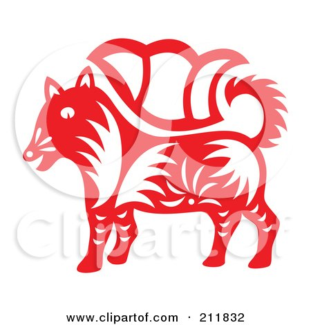 Royalty-Free (RF) Clipart Illustration of a Red And White Papercut Styled Dog by Cherie Reve