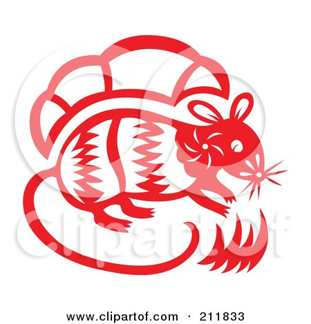 Royalty-Free (RF) Clipart Illustration of a Red And White Papercut Styled Rat by Cherie Reve