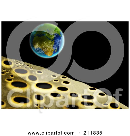 Royalty-Free (RF) Clipart Illustration of a Cratered Landscape Of The Moon And Earth by patrimonio