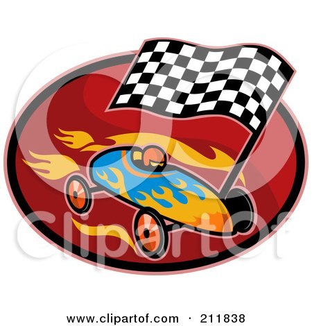 Royalty-Free (RF) Clipart Illustration of a Race Car And Flag Logo by patrimonio