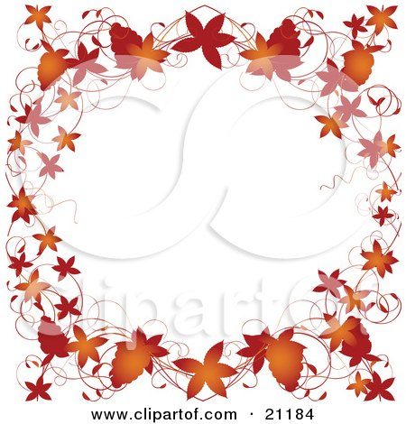Clipart Illustration of Autumn Leaves, Grapevines And Grapes Bordering A White Background by elaineitalia