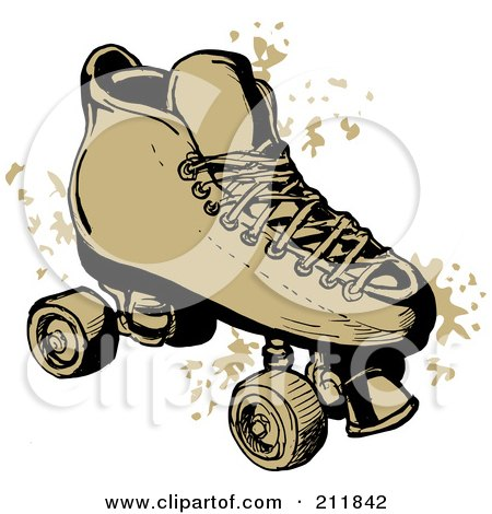 Royalty-Free (RF) Clipart Illustration of a Roller Skate With Grunge Marks by patrimonio
