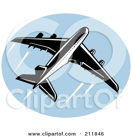 Royalty-Free (RF) Clipart Illustration of a Flying Airliner Logo by patrimonio