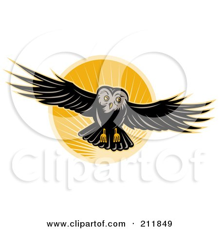 Royalty Free RF Clipart Illustration Of A Flying Owl Logo