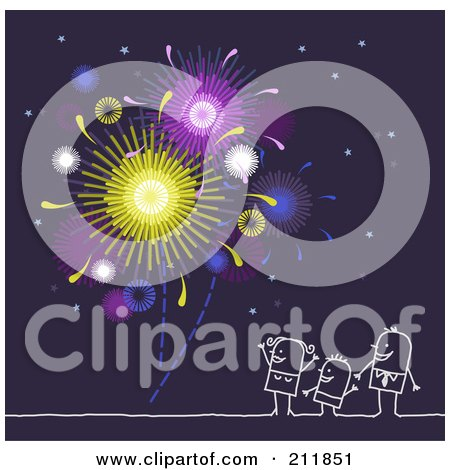 Royalty-Free (RF) Clipart Illustration of a Stick Family Watching Fireworks by NL shop