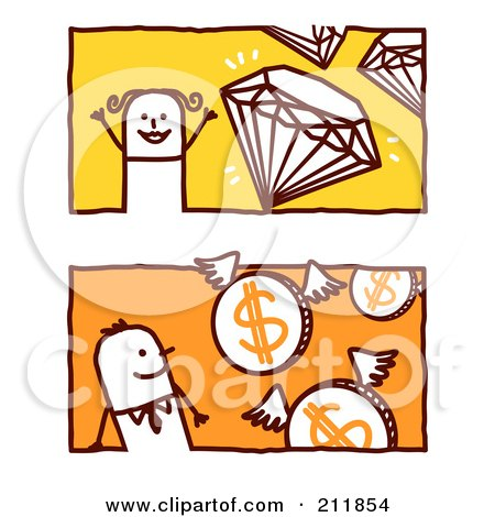 Royalty-Free (RF) Clipart Illustration of a Digital Collage Of Stick Business Men With Diamonds And Coins by NL shop