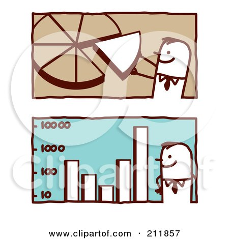 Royalty-Free (RF) Clipart Illustration of a Digital Collage Of Stick Business Men With A Pie Chart And Bar Graph by NL shop
