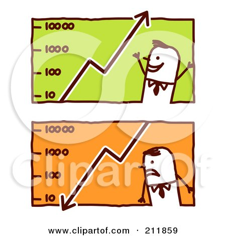 Royalty-Free (RF) Clipart Illustration of a Digital Collage Of Stick Business Men With Graphs by NL shop