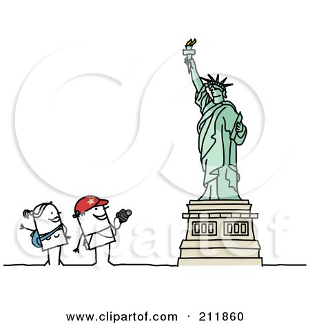 Royalty-Free (RF) Clipart Illustration of a Stick Tourist Couple Admiring The Statue Of Liberty by NL shop