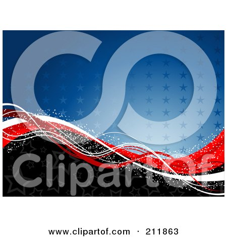 Royalty-Free (RF) Clipart Illustration of a Patriotic American Background Of Stars And Sparkly Waves by KJ Pargeter