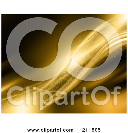 Royalty-Free (RF) Clipart Illustration of a Background Of Smooth Golden Waves by KJ Pargeter
