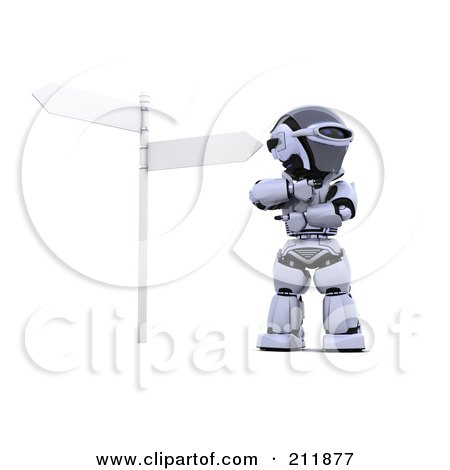 Royalty-Free (RF) Clipart Illustration of a 3d Silver Robot Pondering At A Crossroads by KJ Pargeter