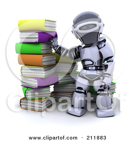 Royalty-Free (RF) Clipart Illustration of a 3d Silver Robot By A Stack Of Colorful Books by KJ Pargeter