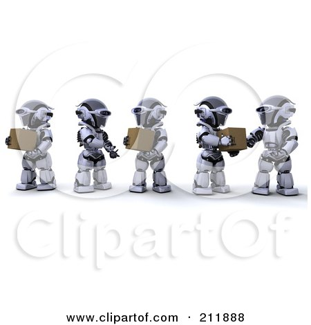 Royalty-Free (RF) Clipart Illustration of a Team Of 3d Silver Robots Passing Packages Along A Line by KJ Pargeter