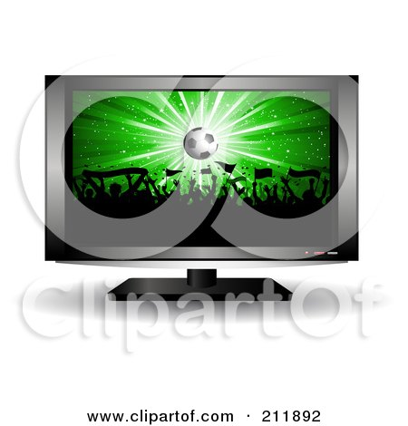 Royalty-Free (RF) Clipart Illustration of a Soccer Crowd On A Television Screen by KJ Pargeter