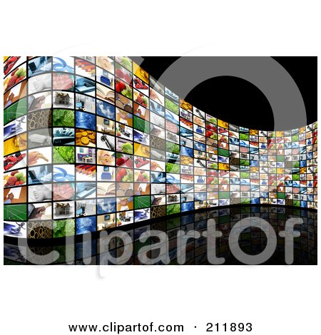 Royalty-Free (RF) Clipart Illustration of a Curved Wall Of Image Screens On A Reflective Black Background by KJ Pargeter